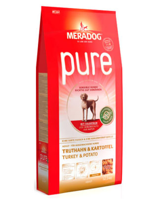 Meradog Pure Turkey and Potato гипоаллергенный корм для собак индейка картофель